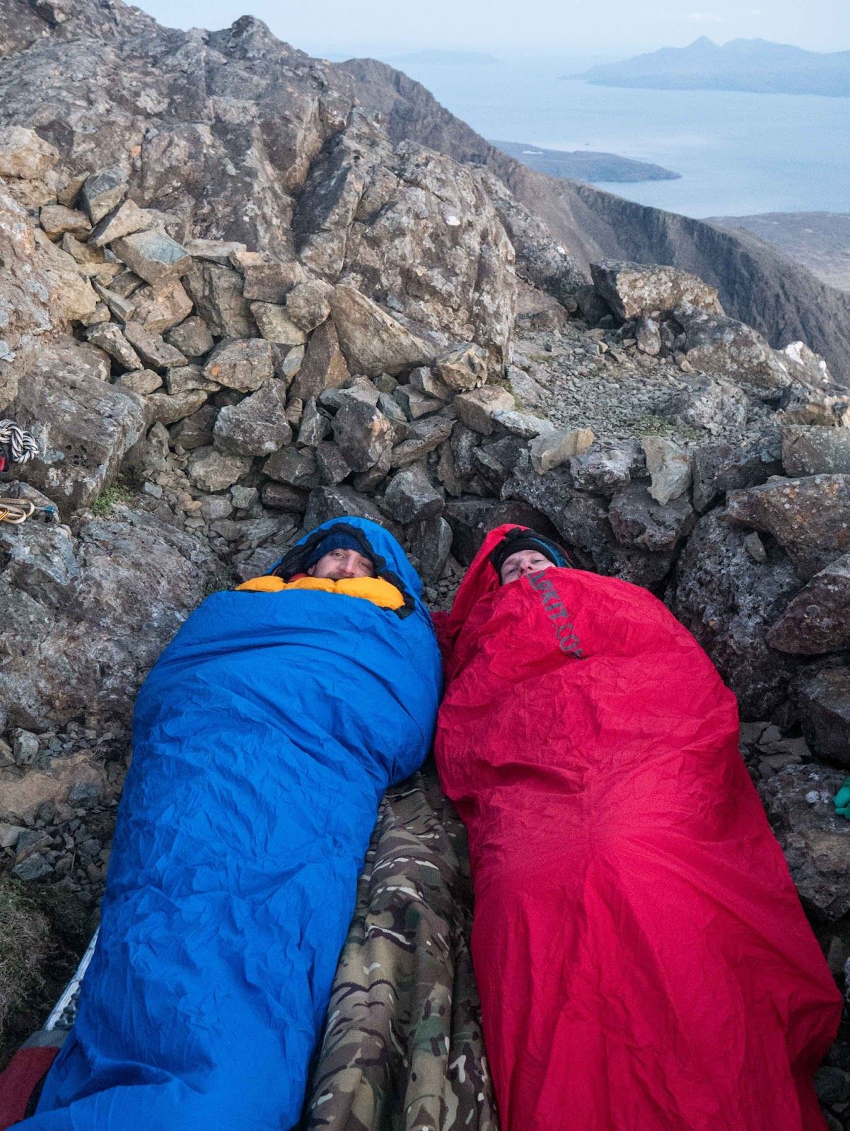 Getting Cosy In Our Hunka Blue And Xl Red Bivvy Bags On The Cuillin Ridge