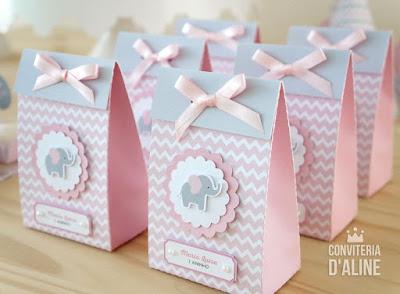 sacolinha elefantinha rosa cinza chevron