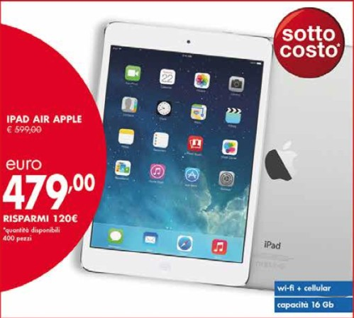 Apple iPad Air 4G in sottocosto da Panorama a maggio