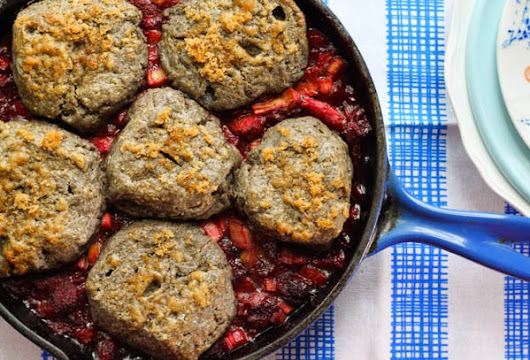 Roasted Strawberry-Rhubarb Buckwheat Biscuit Cake