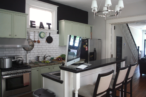 Here S What Our Kitchen Curly Looks Like With The Freshly Painted Gray Walls And Chalkboard Paint Accent Wall Above Cabinets See Before Shots