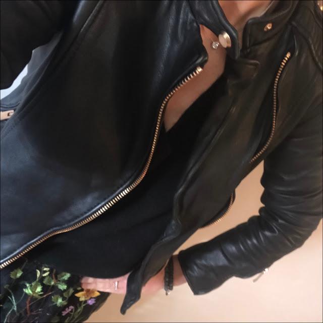 My Midlife Fashion, marks and spencer embroidered a line skirt, zara leather biker jacket, h&M cashmere v neck jumper, golden goose super star low top leather trainers