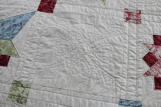 Tone on Tone Hand Quilted White Quilt Block