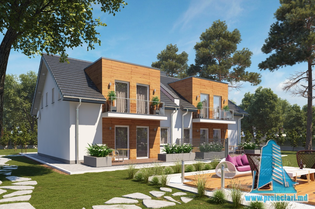 Proiecte de case proiect de casa duplex cu demisol for Proiecte case cu etaj si terasa