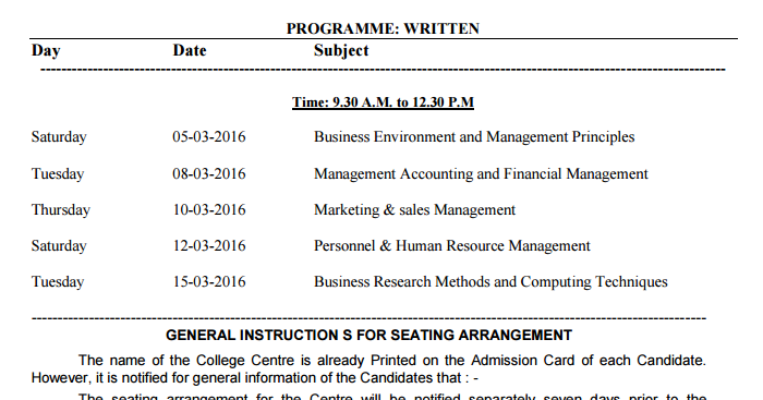 Rtmnu dbm old time table summer 2016 march april exam for Rtmnu time table 4th sem