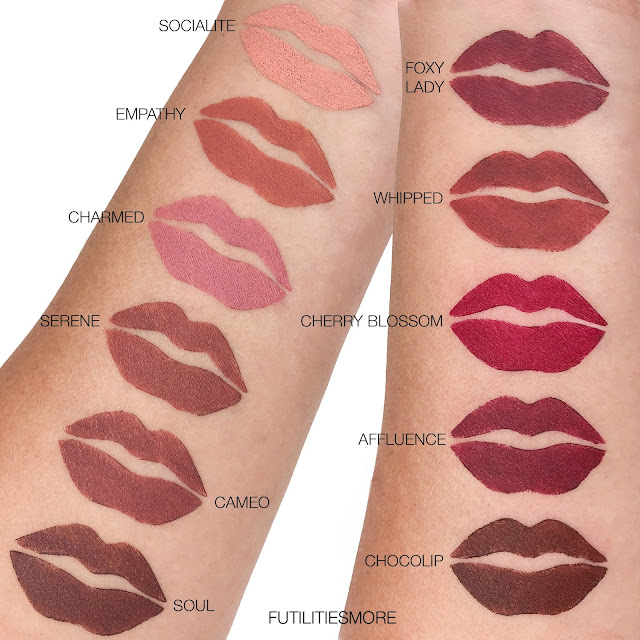 COLOURED RAINE SATIN LIPSTICKS SWATCHES
