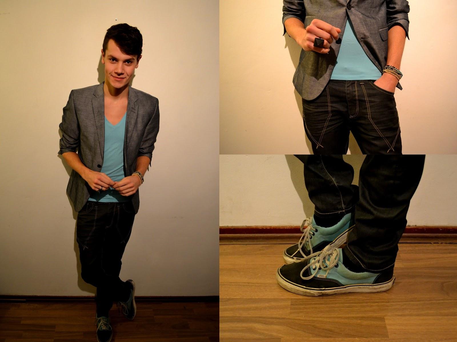 Blue Jeans Black Shirt Grey Blazer