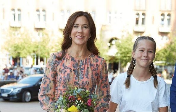 Crown Princess Mary wore a H&M silk dress and a Gianvito Rossi python pointed toe pumps