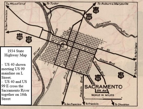 California State Route 51 Failed Interstate 80 On The Capitol City - Us-highway-40-map
