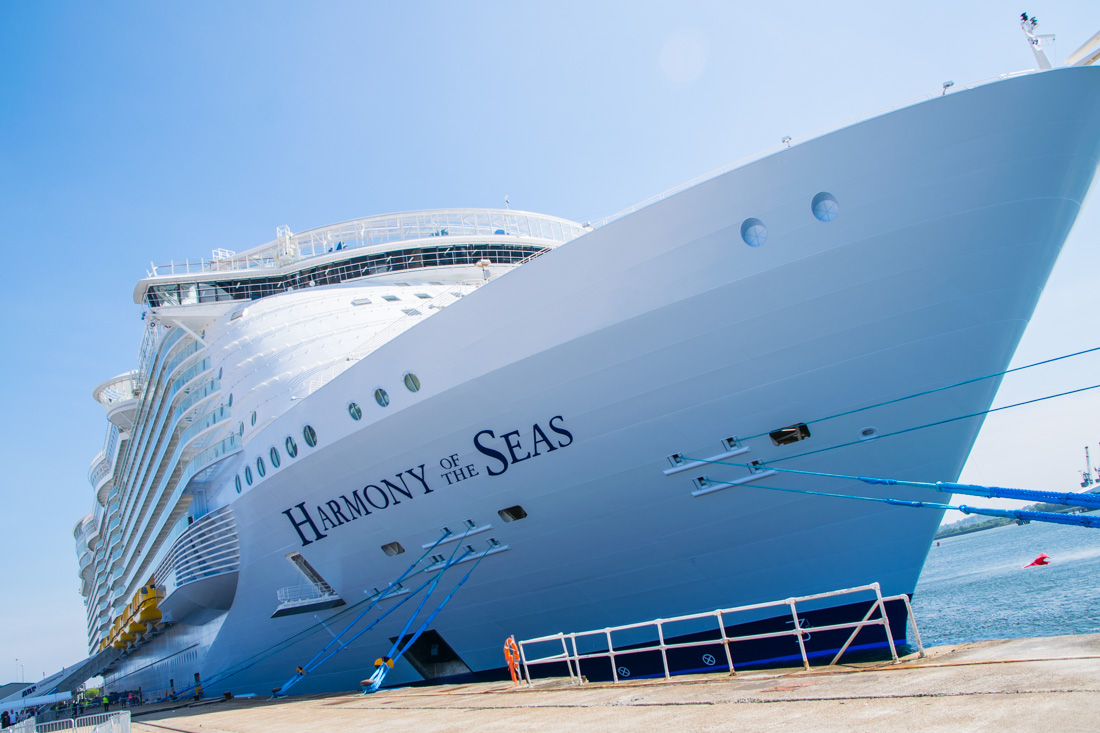 Harmony of the Seas docked in Southampton, UK