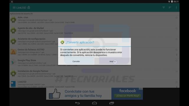 Moviendo app al sistema con Link2Sd