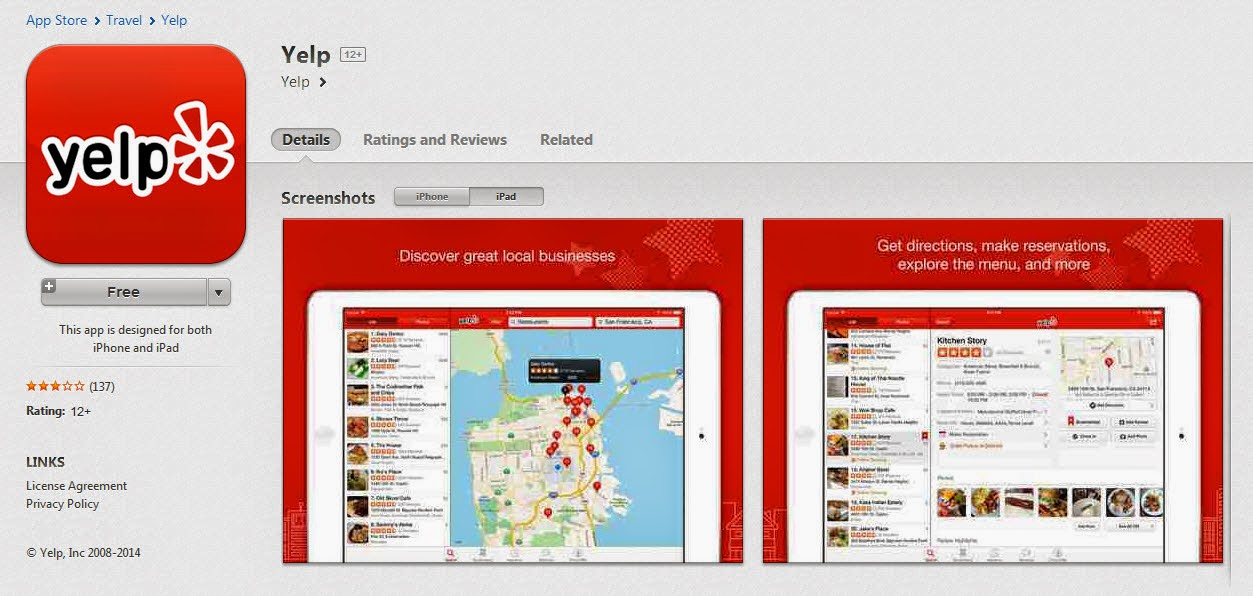Create Video Notebook: Thoughts on Video Via Yelp Phone App