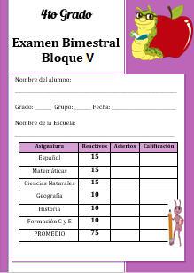 Examen del Bloque 5 Cuarto grado