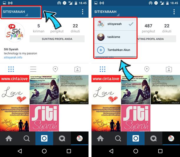 cara instagram banyak akun di android