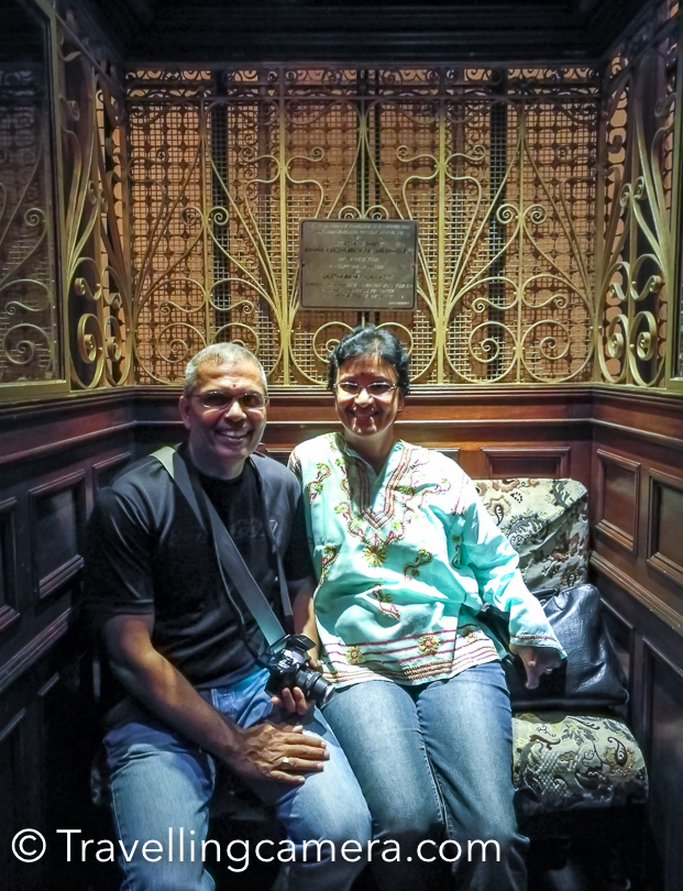 This is one of my favourite photographs clicked at Lalitha Palace Hotel in Mysore. This is one of the ancient lifts in India, which is still in use.