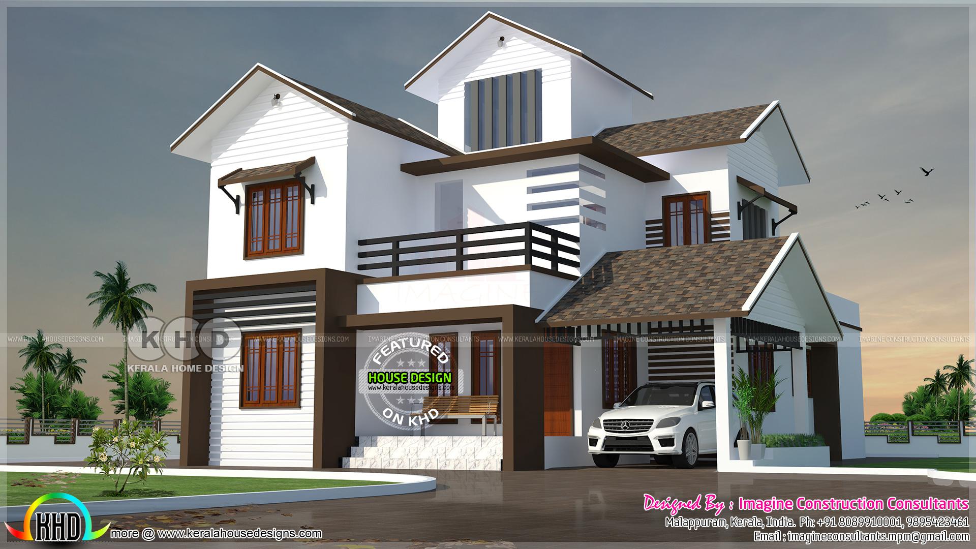 2328 Square Feet 4 Bedroom Sloped Roof Home Plan Kerala