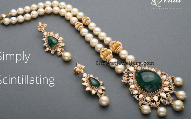 Pearls Long Set with Emerald Pendant