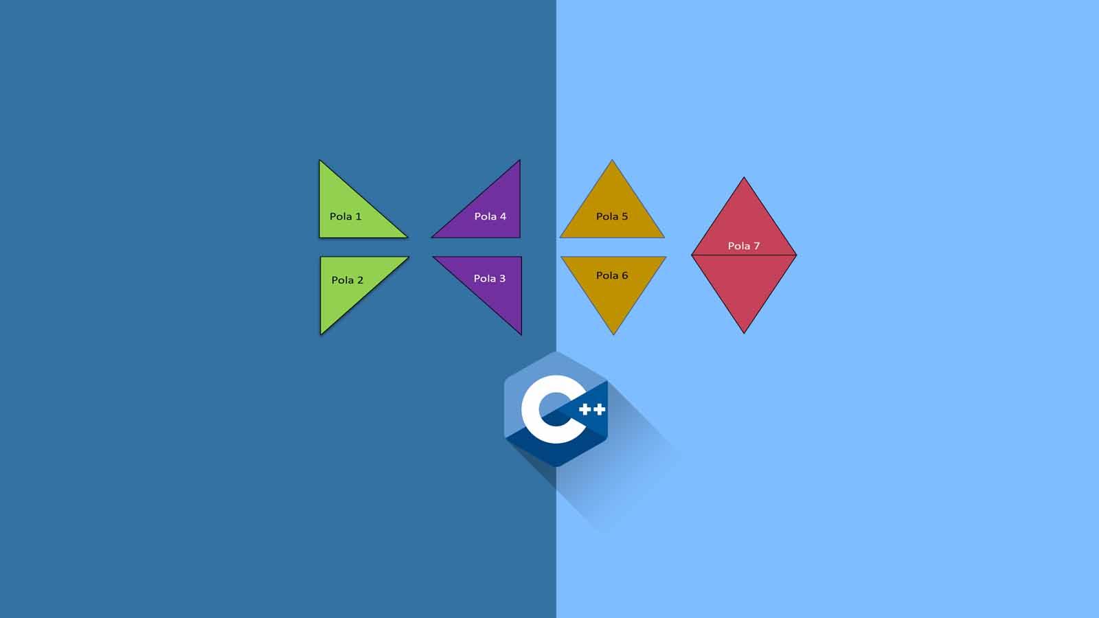 Contoh Program 6 Pola Segitga dan 1 Layang-layang (for dan switch) - C++