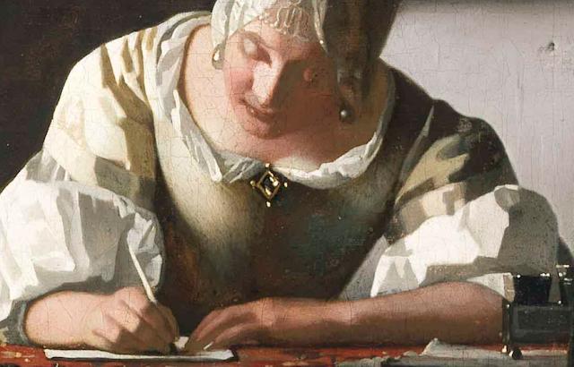 """Johannes Vermeer - """"Mulher escrevendo uma carta"""" - 1670-71"""