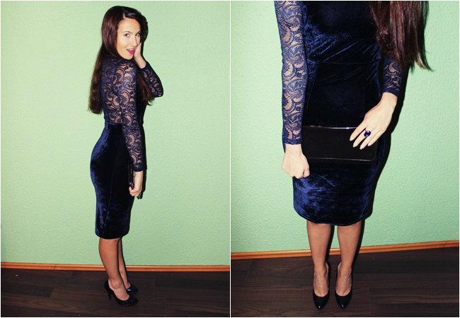 tamno plava haljina od plisa i cipke