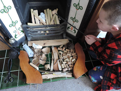 wine corks and wood for sitting room fire