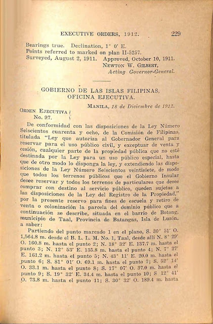 Executive Order No. 97 series of 1912, Spanish version.
