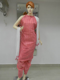 Lucknowi Chikan Dress Material - Pink