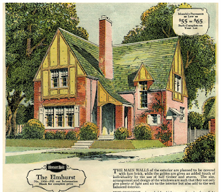 Color depiction of the Sears Elmhurst from the 1929 Brick Supplement catalog, found on AntiqueHome.org