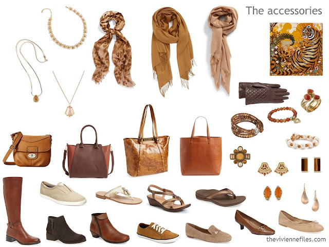 accessory wardrobe in brown, beige and orange