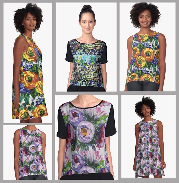 Clothes with Impressionistic Floral Designs Artist Irina Sztukowski