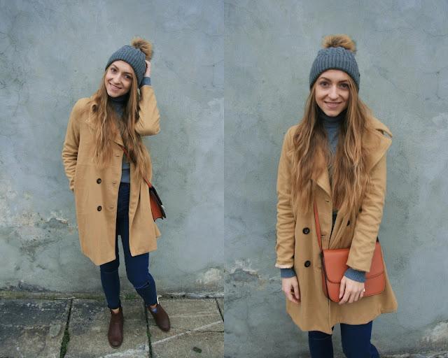 Winter beige coat in everyday style | Beżowy płaszcz w codziennym wydaniu