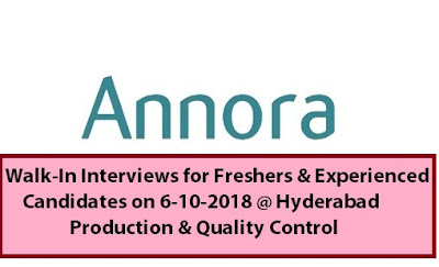 Annora Pharma Pvt. Ltd Walk In Interview for Freshers & Experienced Candidates at 6 October