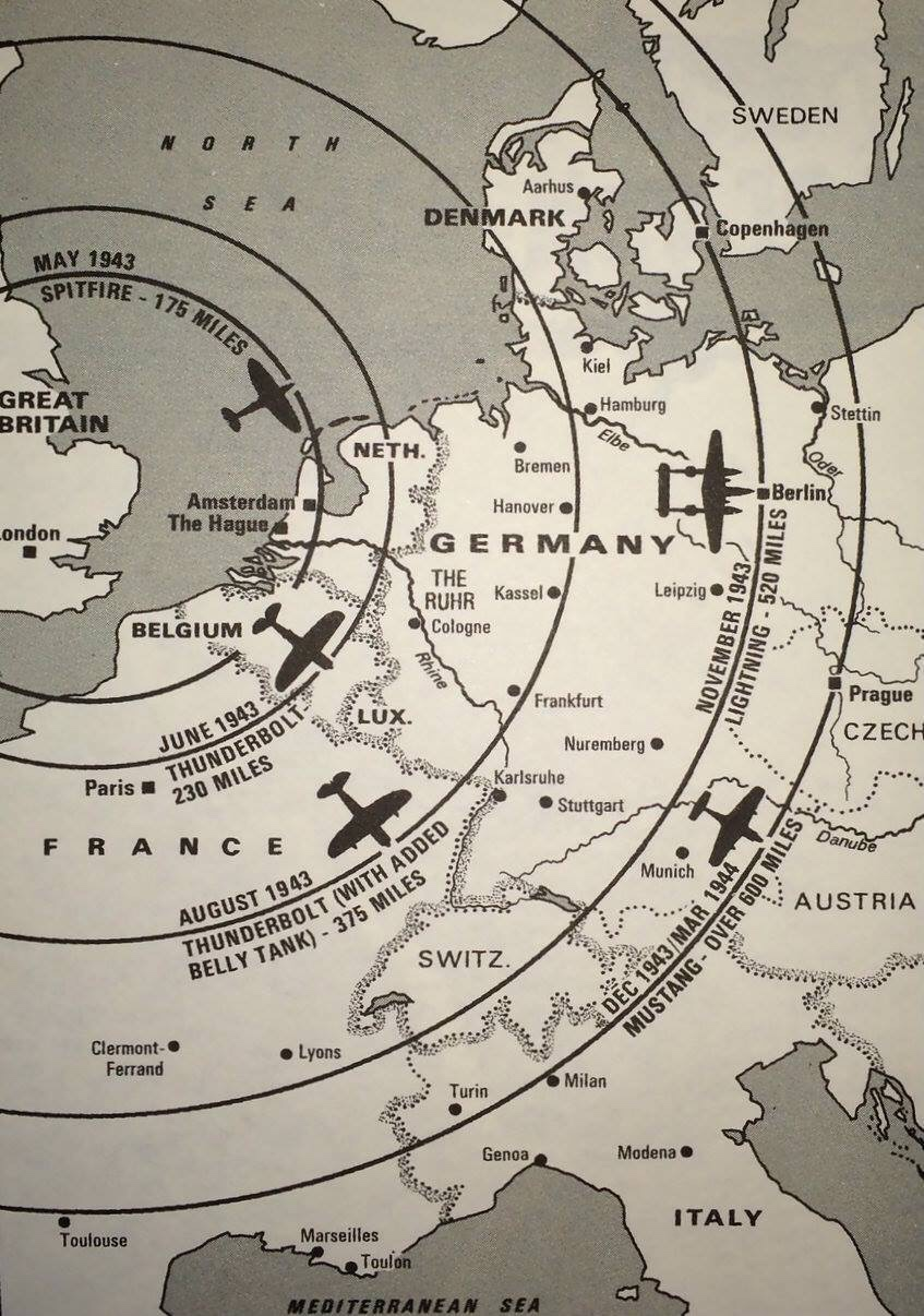 A map of the distance WWII fighters can fly from the UK mainland