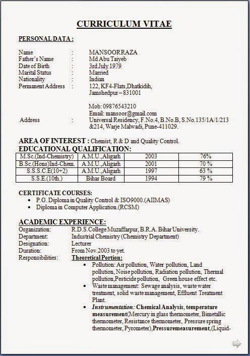 sample resume format for msc chemistry freshers