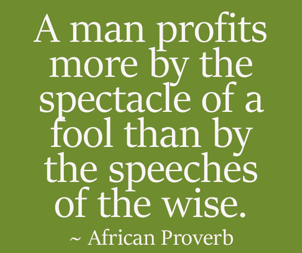 A man profits more by the spectacle of a fool than by the speeches of the wise. ~ African Proverb