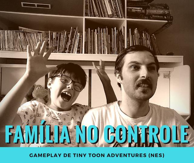 """Foto de pai e filho jogando videogame e caixa de texto escrito """"Família no Controle"""", o nome da nova série de gameplays."""