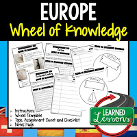 Europe Activity, World Geography Activity, World Geography Interactive Notebook, World Geography Wheel of Knowledge (Interactive Notebook)