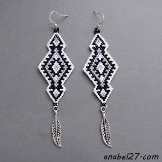 seed bead earrings - native american inspired - beaded jewelry
