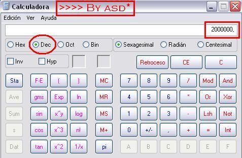 Calculadora científica de windows