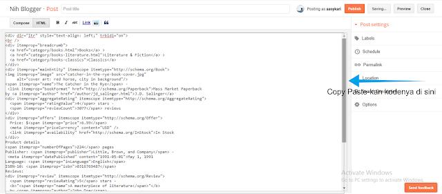 HTML yang tersedia silahkan untuk dimasukan pada bagian pengeditan yang berjenis HTML