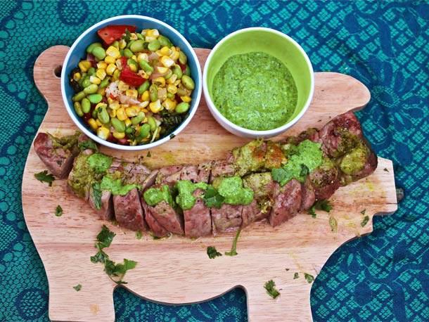 Grilled Flank Steak with Jalapeño-Arugula Harissa