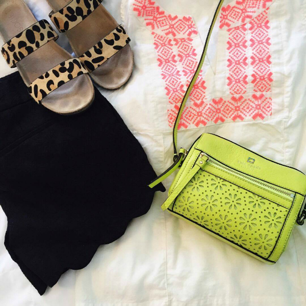 leopard sandals, scallop shorts