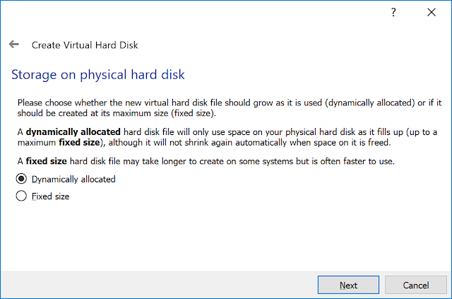 Storage on physical hard drive.