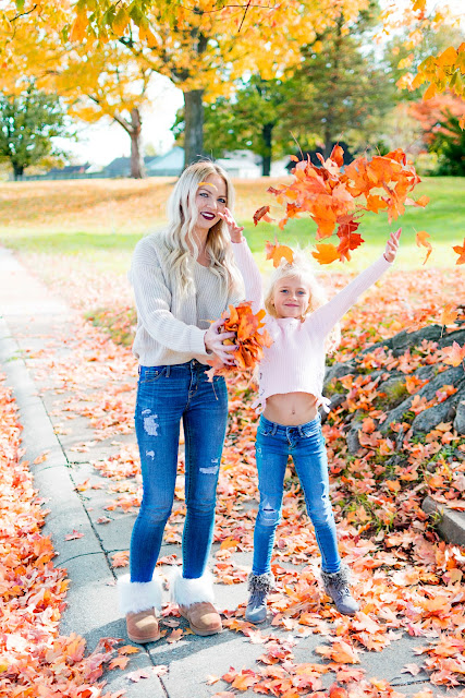 sweater fall fashion mom and me uggs fur lace up photography