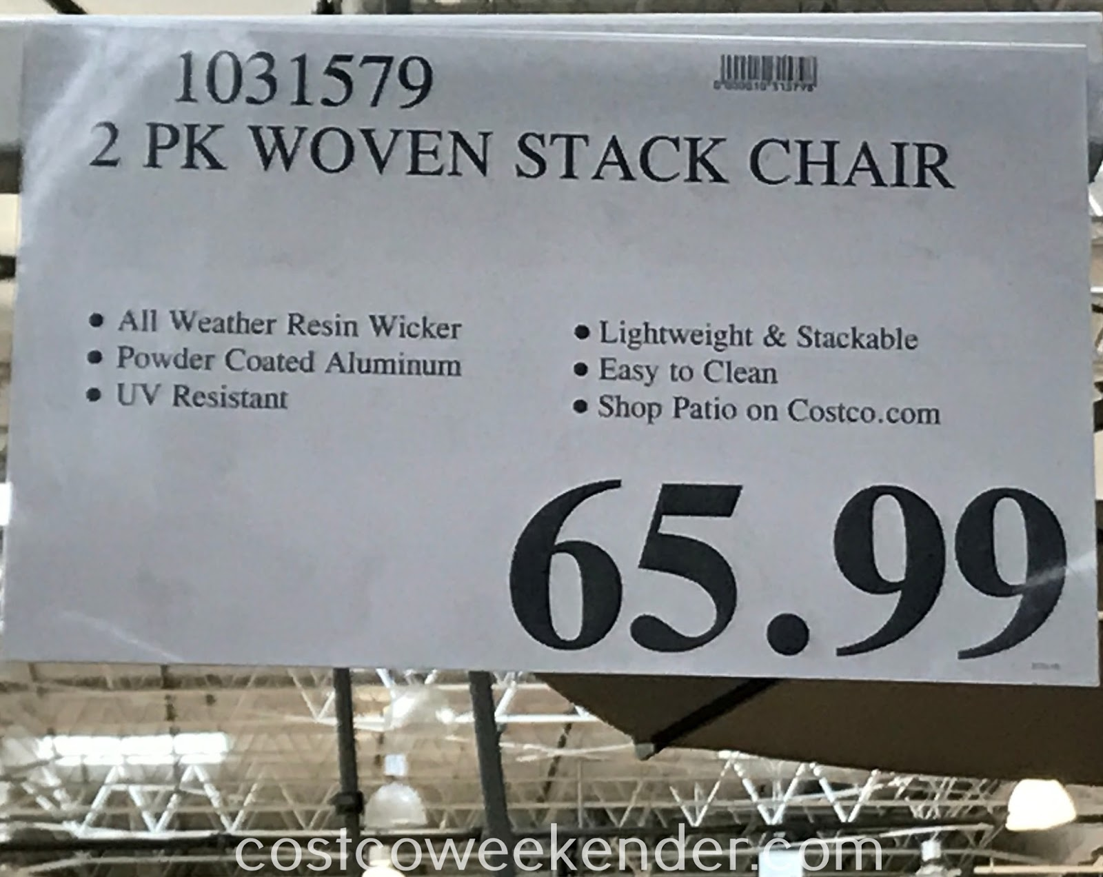 Deal for a set of 2 Woven Resin Wicker Bistro Chairs at Costco