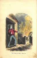 A hand-colored engraving of the Nolan's yacht on fire and a boy reacting to the scene from the door of a house.