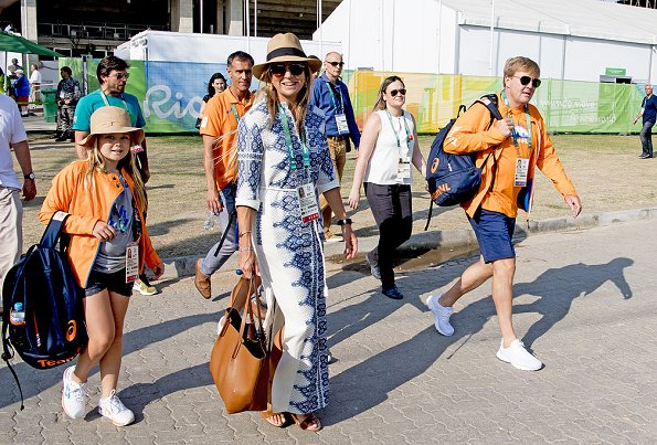 King Willem Alexander, Queen Maxima, Princess Catharina-Amalia and Princess Ariane attend the Equestrian Jumping. Maxima wore PAUL ANDREW Hampton leather wedge sandals