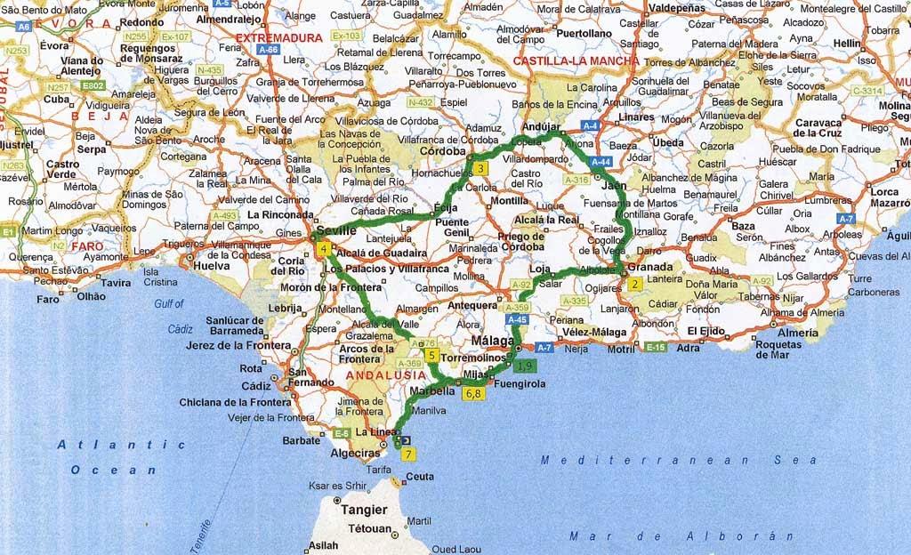 kart andalucia Tur Til Spania Kart kart andalucia