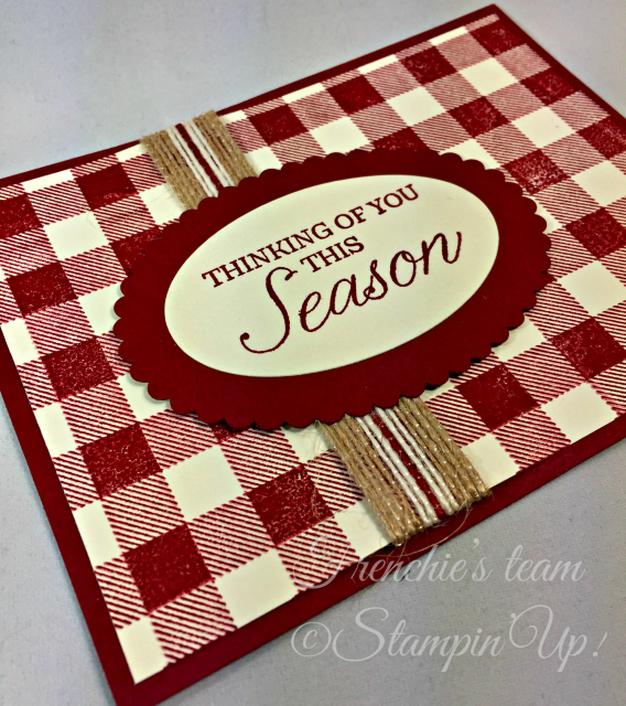 Card, Winter Woods, Buffalo Check, Burlap Trim