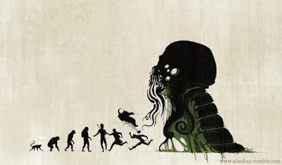 Meme sobre la evolución y Cthulhu